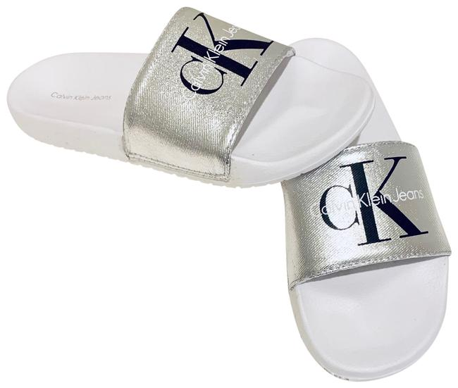 Item - Silver/White Women's Slides Silver/Sz:8nwt Sandals Size US 8 Regular (M, B)