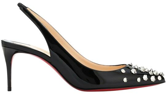 Preload https://img-static.tradesy.com/item/25573670/christian-louboutin-black-drama-sling-70-patent-silver-spike-stiletto-kitten-sandal-heel-pumps-size-0-1-540-540.jpg
