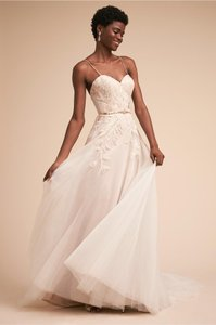 BHLDN Blush/Ivory English Net/Tulle Guinevere/ Ti Adora By Allison Webb 7761 Feminine Wedding Dress Size 0 (XS)