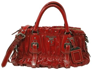 Prada Gaufre Patent Leather 2 Way Vintage Tote in Red