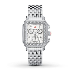 Michele Deco Stainless Mother of Pearl Diamond Dial MWW06P000099