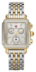Michele Deco Two Tone Stainless Mother Of Pearl Diamond Dial Mww06p000108