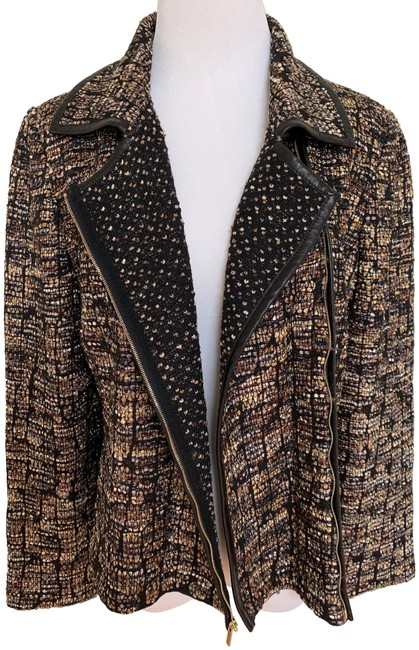 Item - Brown Collection Black Tweed Knit Leather Zip Moto Jacket Size 10 (M)