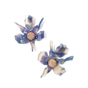 Lele Sadoughi Lele Sadoughi Blue Crystal Lily Earrings Post Back