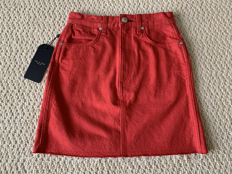 1b40365418 Rag & Bone Red Moss Bull Denim Raw Cut Hem Pocket Skirt Size 0 (XS, 25) -  Tradesy