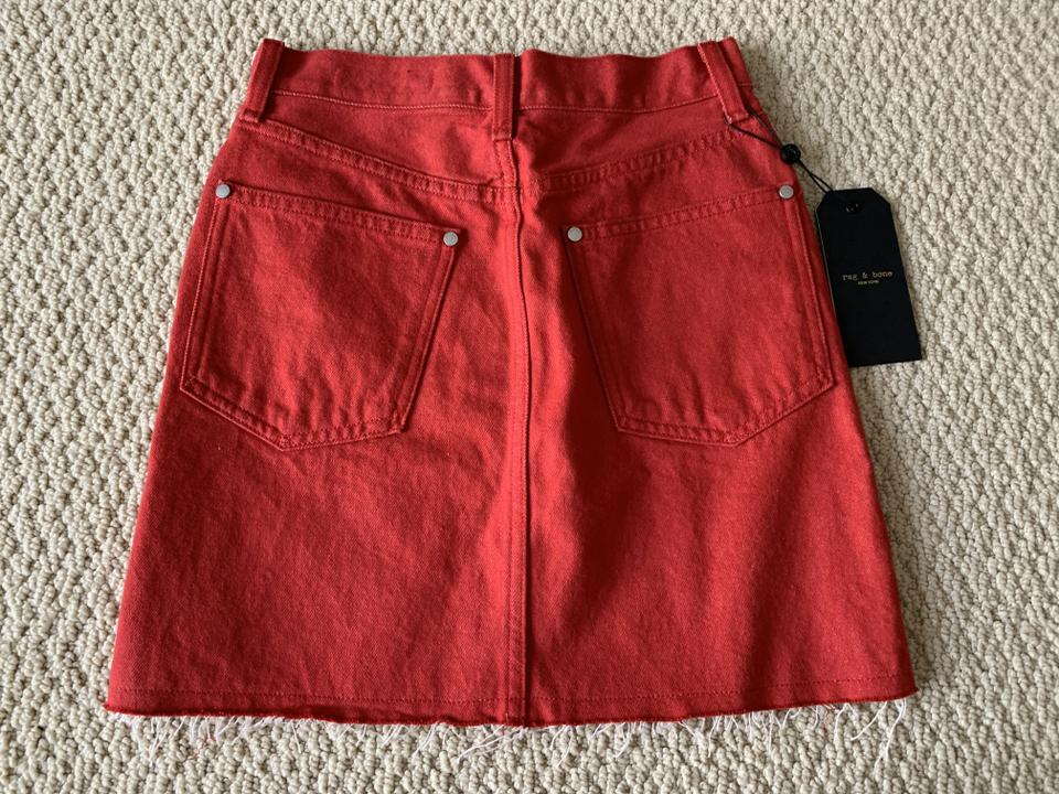 121d4685e3 Rag & Bone Red Moss Bull Denim Raw Cut Hem Pocket Skirt Size 0 (XS ...
