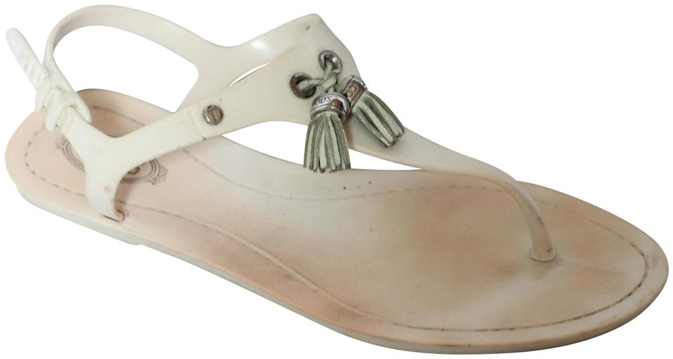 a1d4fa49a0970 Tod's Ivory Jelly Thong Tassel Sandals Size EU 38 (Approx. US 8) Regular  (M, B) 76% off retail
