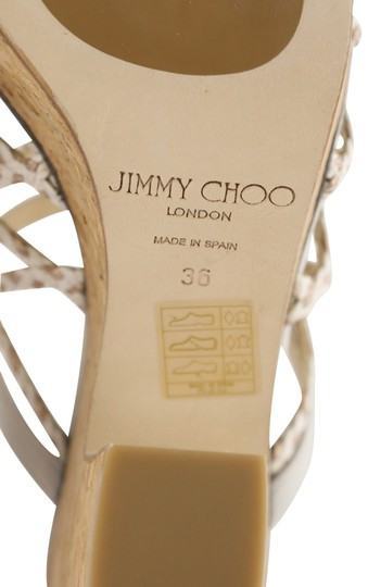 Jimmy Choo Leather Rubber Gold Hardware White Mules Image 10