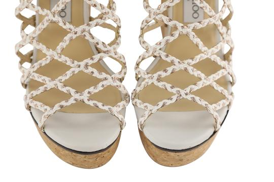 Jimmy Choo Leather Rubber Gold Hardware White Mules Image 5