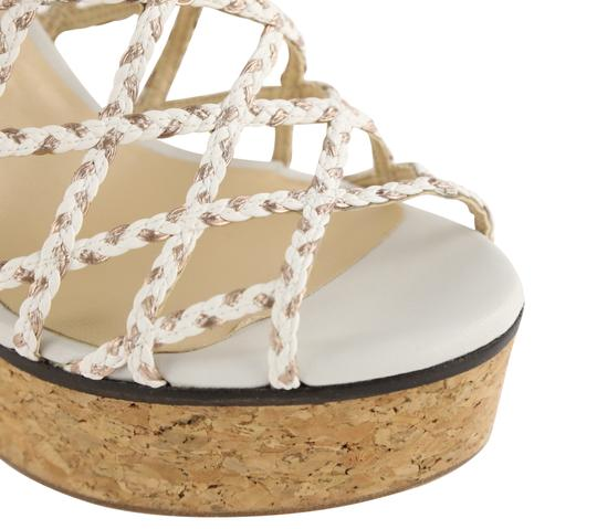 Jimmy Choo Leather Rubber Gold Hardware White Mules Image 7