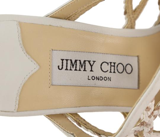 Jimmy Choo Leather Rubber Gold Hardware White Mules Image 8