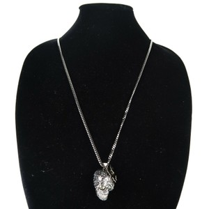 Alexander McQueen Skull Necklace Black Crystal with Butterfly Pendant