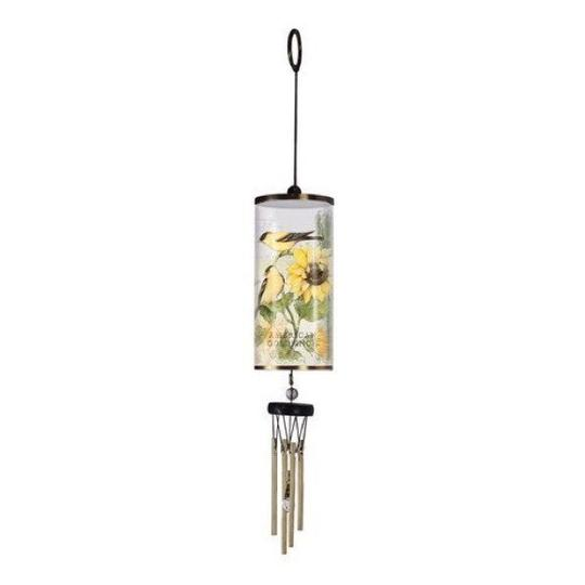 White and Yellow Goldfinch - Cylinder Wind Chime Decoration Image 2