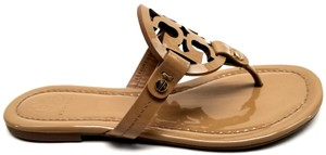 Tory Burch Flip Flops Bold Logo Cutout Leather Sand Patent Sandals