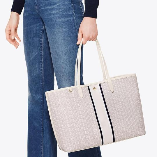 Tory Burch Tote in New Ivory/Navy/Gray Image 2