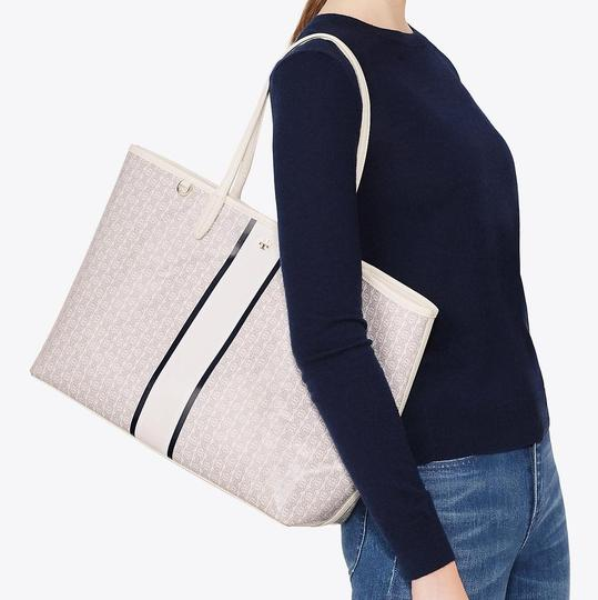 Tory Burch Tote in New Ivory/Navy/Gray Image 3