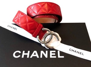 Chanel Red Quilted CC Logo Leather Belt sz 80