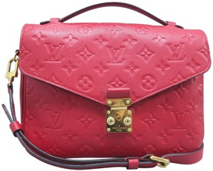 Louis Vuitton Calfskin Metis Monogram Satchel in Red