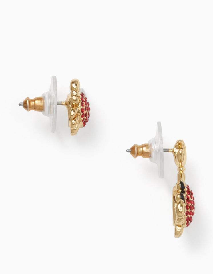 9a5af8c65efce Kate Spade Red Clear Gold Shore Thing Pave Crab Studs with Dust Bag Earrings