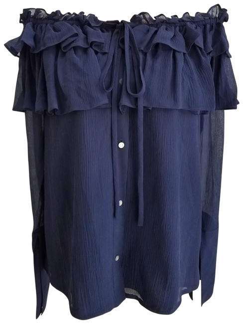 Item - Crinkle Chiffon Off Shoulder Navy Blue Top