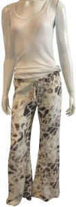 Alexis Drawstring Silk Athleisure Snake Print Relaxed Pants white