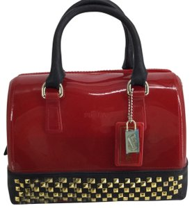 Furla Satchel in Red with Black Leather trim and gold studs