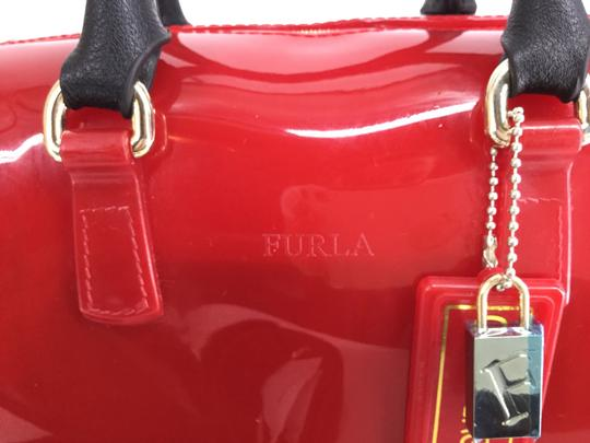 Furla Satchel in Red with Black Leather trim and gold studs Image 1