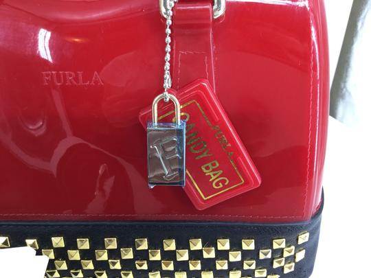 Furla Satchel in Red with Black Leather trim and gold studs Image 2