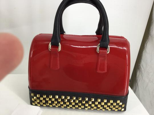 Furla Satchel in Red with Black Leather trim and gold studs Image 8