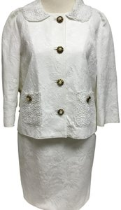 Dolce&Gabbana White jacquard skirt suit with white lace detail