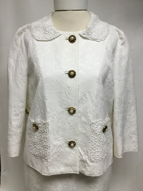 Dolce&Gabbana White jacquard skirt suit with white lace detail Image 1