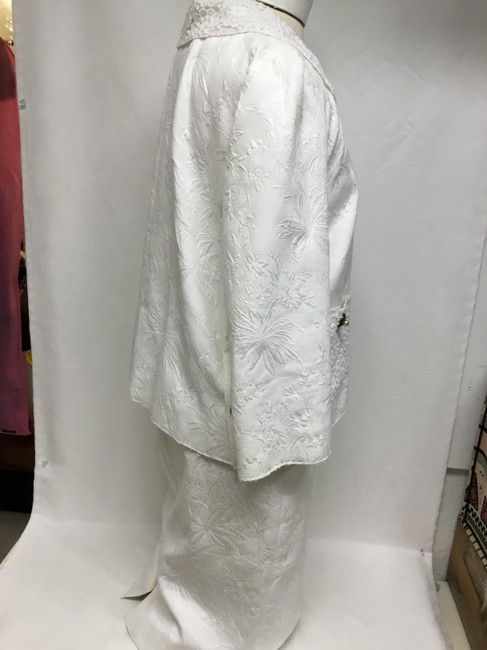 Dolce&Gabbana White jacquard skirt suit with white lace detail Image 2