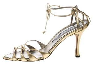 Manolo Blahnik Metallic Leather Strappy Ankle Gold Sandals