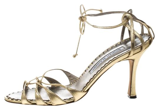 Preload https://img-static.tradesy.com/item/25576682/manolo-blahnik-gold-metallic-leather-strappy-ankle-wrap-sandals-size-eu-38-approx-us-8-regular-m-b-0-1-540-540.jpg