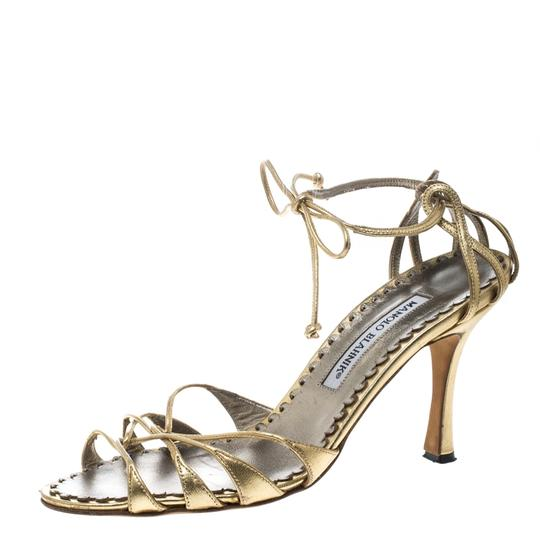Manolo Blahnik Metallic Leather Strappy Ankle Gold Sandals Image 1