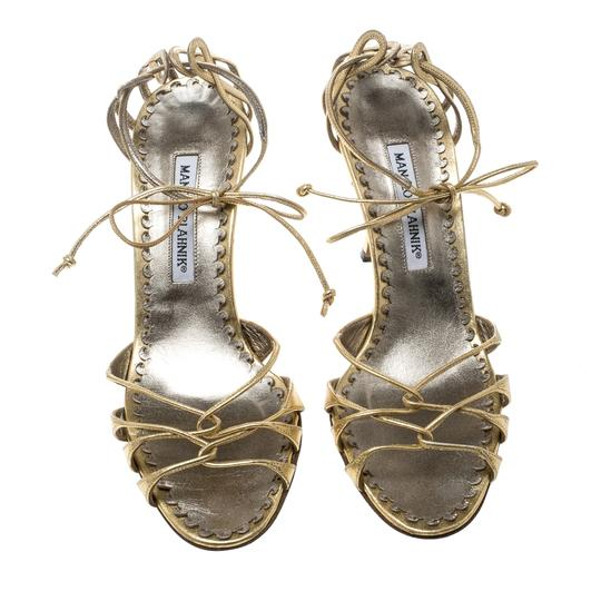 Manolo Blahnik Metallic Leather Strappy Ankle Gold Sandals Image 2