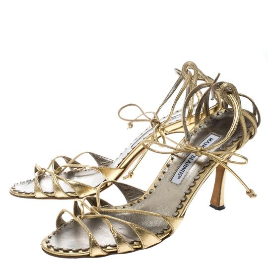 Manolo Blahnik Metallic Leather Strappy Ankle Gold Sandals Image 3