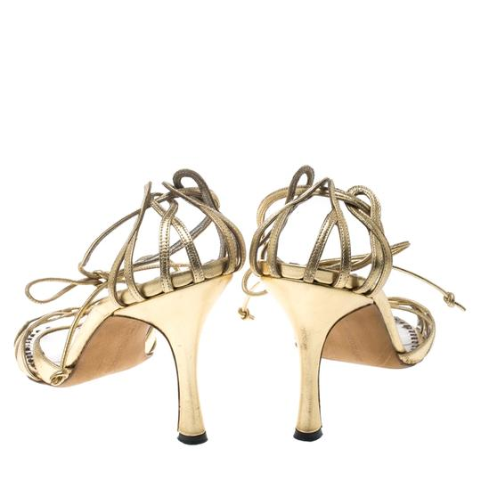 Manolo Blahnik Metallic Leather Strappy Ankle Gold Sandals Image 4