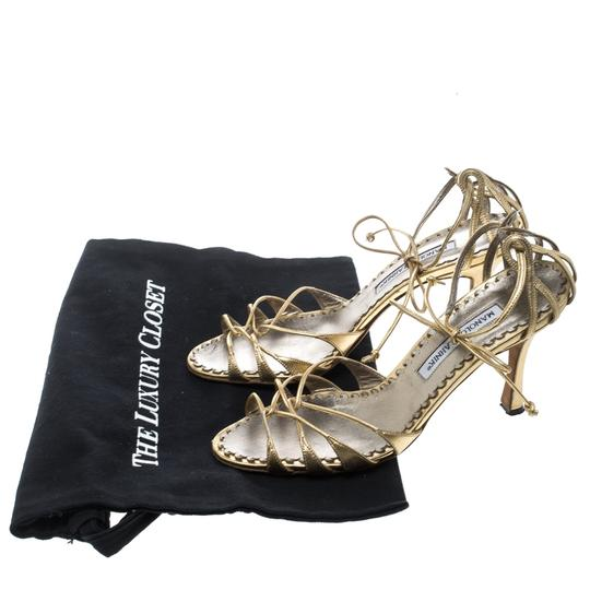 Manolo Blahnik Metallic Leather Strappy Ankle Gold Sandals Image 7