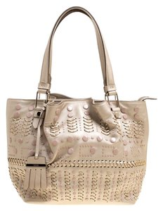 Tod's Leather Nylon Tote in Beige