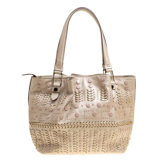 Tod's Leather Nylon Tote in Beige Image 1