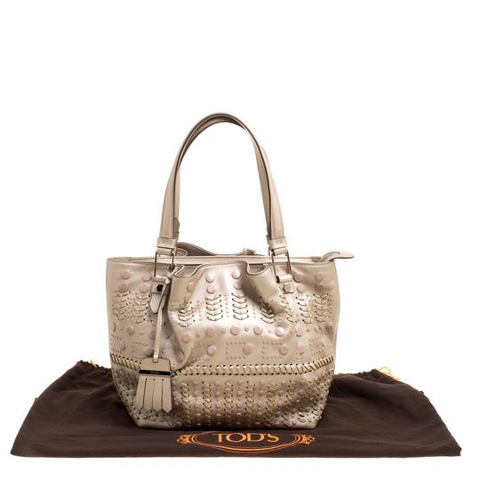 Tod's Leather Nylon Tote in Beige Image 10