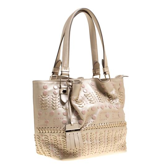 Tod's Leather Nylon Tote in Beige Image 3