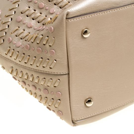Tod's Leather Nylon Tote in Beige Image 7