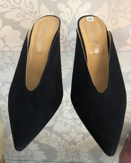 NAPOLEONI Italy Suede Leather Pointed Toe Black Pumps Image 1