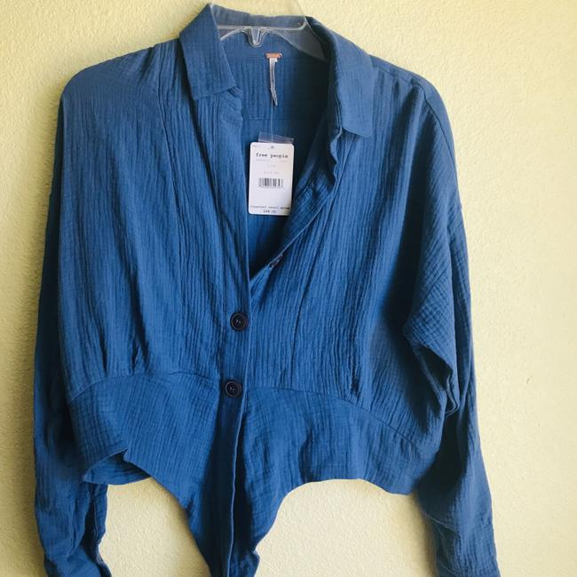 Free People Button Down Shirt Blue Image 3