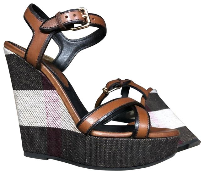 Item - Brown Beige and White Whelan 125 Sandal Wedges Size US 6.5 Narrow (Aa, N)