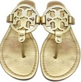 Tory Burch Flip Flops Logo Cutout Leather Made In Brazil S/N 50008679 Gold Metallic Sandals Image 0