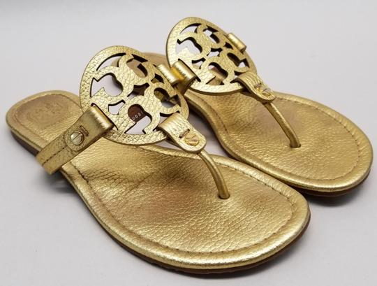 Tory Burch Flip Flops Logo Cutout Leather Made In Brazil S/N 50008679 Gold Metallic Sandals Image 1
