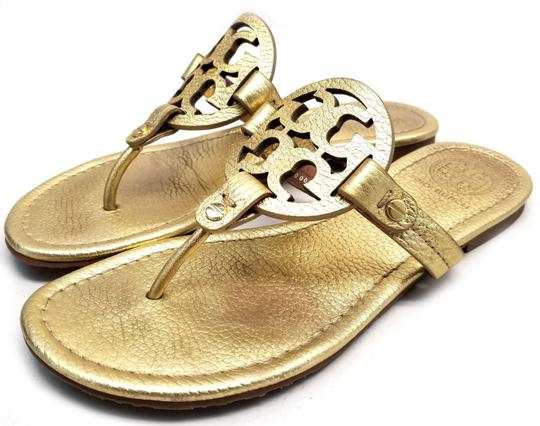 Tory Burch Flip Flops Logo Cutout Leather Made In Brazil S/N 50008679 Gold Metallic Sandals Image 2